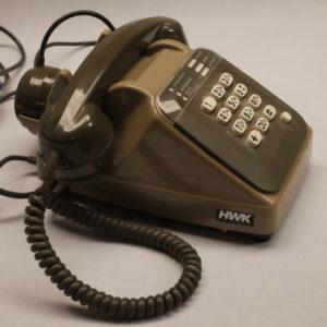 Téléphone filaire vintage kaki, années 80